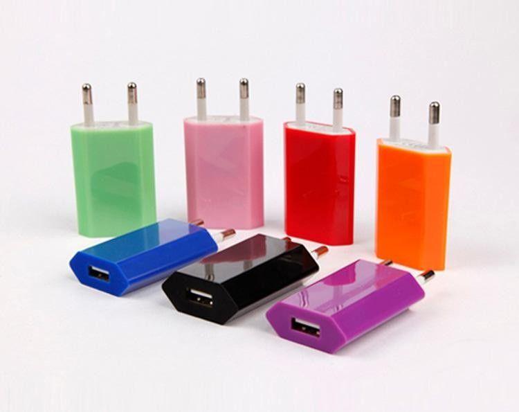 Evrensel AB ABD yağ Duvar Adaptörü tak USB Ev Seyahat Şarj güç Küp 1A e puro için mobil smartphone 4 s 5 s android s3 s4 s5 not 3