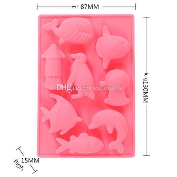 Silicone Sea Cute Animal Moulds silicone Fish chocolate molds Wedding Cake E00337 CAD