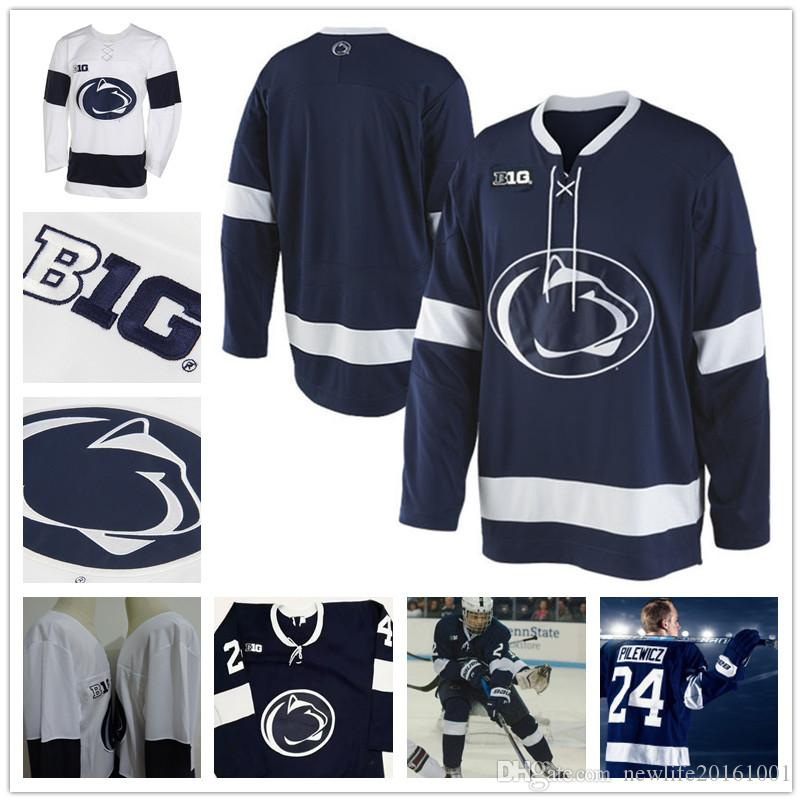 c1062f83b8bae 2019 Custom Penn State Nittany Lions College Hockey Jerseys 7 James  Robinson 8 Chase Berger 24 Adam Pilewicz 30 Matt Erlichman Navy Blue White  From ...