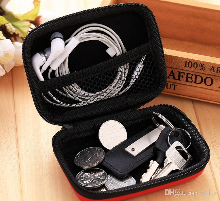 Hot Sales Earphone Headphone Cable Charger Adapter Coin Hard Zipper Carrying Pouch Protective Storage Case Bag 2 size