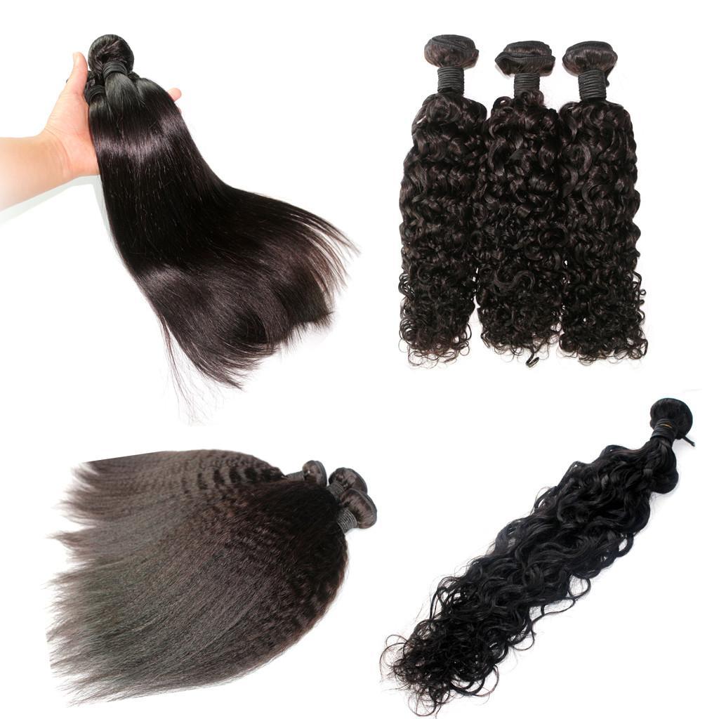 Brazylijski Dziewiczy Włosy Splot Malezyjski Indian Peruwiański Mongolski Kambodżański Human Włosy Naturalny Kolor Nieprzetworzone Remy Hair Wątek Rozszerzenie