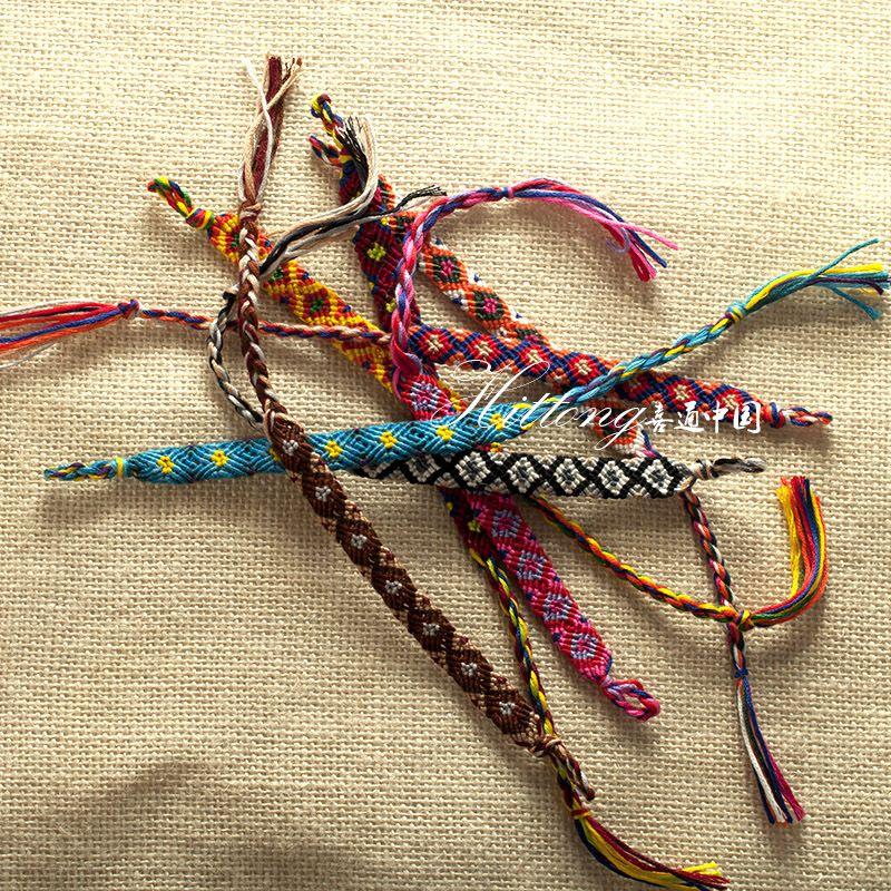 Fashion Vintage Style Random Colors 1.0 CM Width Nepal Ethnic Cotton Thread Knitted Unisex Friendship Bracelet Summer Bracelets B012