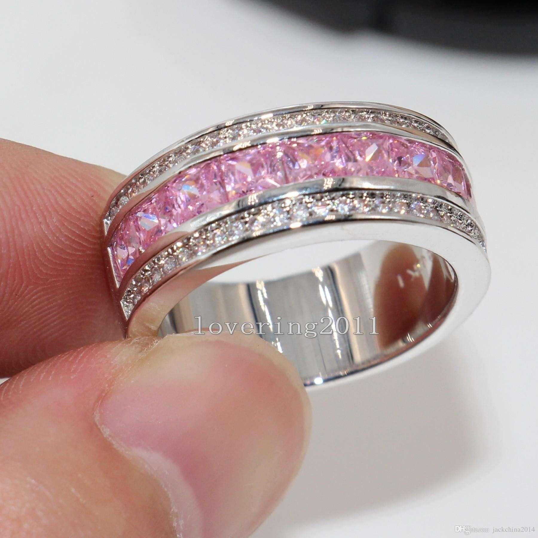 Pink Topaz 18k gold filled woman nice Luxurious lady ring Sz5-Sz9
