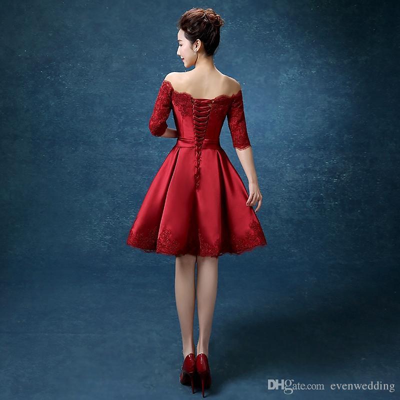 Halbarm Spitze Satin Cocktailkleid Kurze 2019 Elegante Frauen Kleid Party Elegante Knielangen Party Kleider Burgund