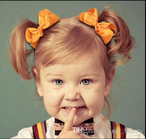 3インチの赤ん坊の固体グロスグレインリボンヘア弓弾性ヘアバンド赤ちゃん女の子ヘアアクセサリーブティック弓ヘッドバンド196カラー50ピース