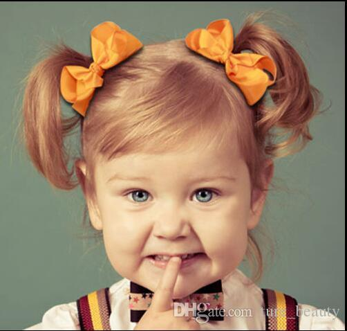 3 인치 아기 솔리드 그로 그레인 리본 헤어 리본 탄성 머리 밴드 아기 소녀 헤어 액세서리 부티크 활 머리띠 196 색상