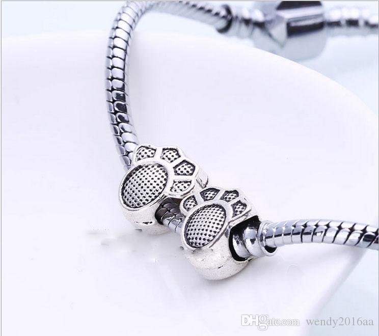 40 шт. / лот Mix стиль посеребренные большое отверстие свободные бусины металлические подвески для Pandora DIY ювелирных браслет для европейских подвески BraceletNecklace