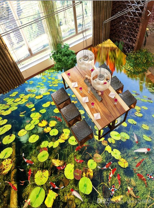 3d pvc flooring custom photo wallpaper wall sticker Duckweed pond limpid water decoration painting picture 3d wall room murals wallpaper