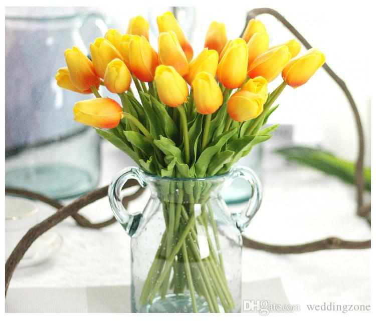 Tulip Artificial Flower PU Latex Tulips Bouquet Real Touch Flowers For Wedding Decoration Home/Party Decoration