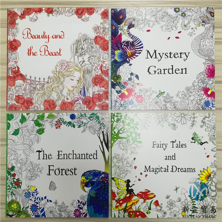2016 Hottest 48 Pages Drawing Coloring Books Enchanted Forest Fairy Tales Mystery Garden Beauty And The Beast Childrens Colouring Book