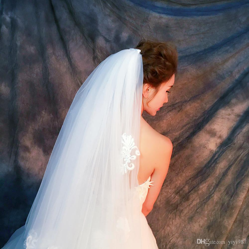 Y-O20 Wholesale Veils High Quality Real photos Purple White Netting Veils of Bridal Tulle with good lace Fast out Veils