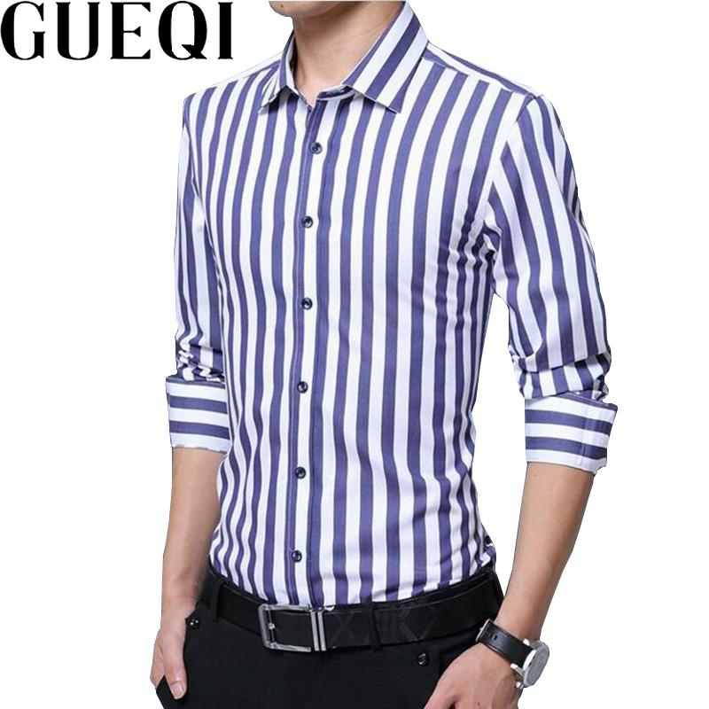 2ef6c04523f 2019 Wholesale GUEQI Men Fashion Striped Shirts Plus Size M 5XL New Model  Long Sleeve Business Man Casual Cotton Tee Shirts From Maluokui