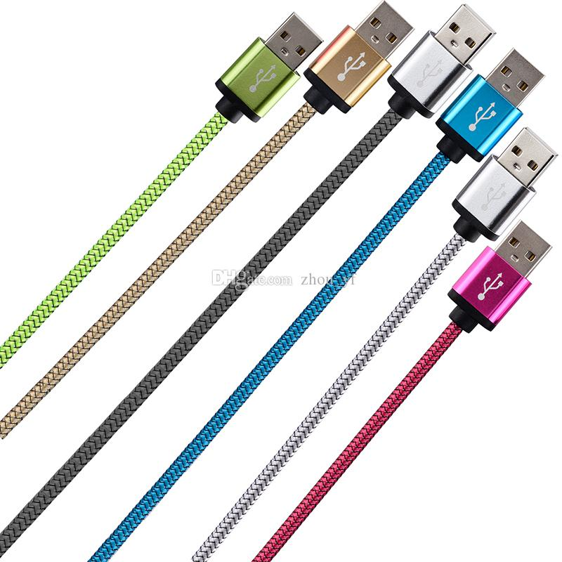 Micro V8 5pin Fabric braided nylon usb data charger cable Free 25cm 1m 2m 3m Aluminium Alloy for samsung s4 s6 s7 Htc Lg Android phone