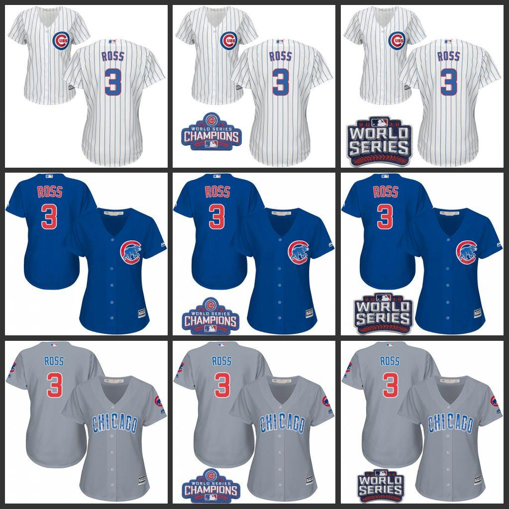 23f61009bb2 ... 2017 womens 3 david ross jersey 2016 world series champions patch chicago  cubs white blue grey