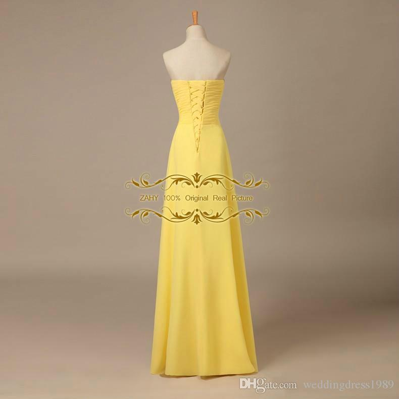Long Chiffon 2018 Prom Dresses Sweetheart A-Line Floor-Length In-stock Yellow /Blue Formal Party Dresses 100% Original Designer