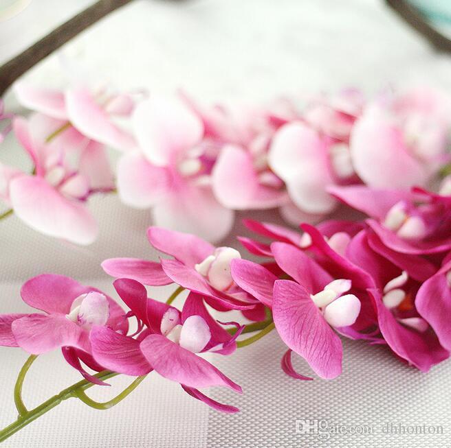 웨딩 꽃 7 색 고무 코팅 PF13에 대한 REAL TOUCH 난초 72cm 인공 꽃 시뮬레이션 공주 나비 난초 호 접