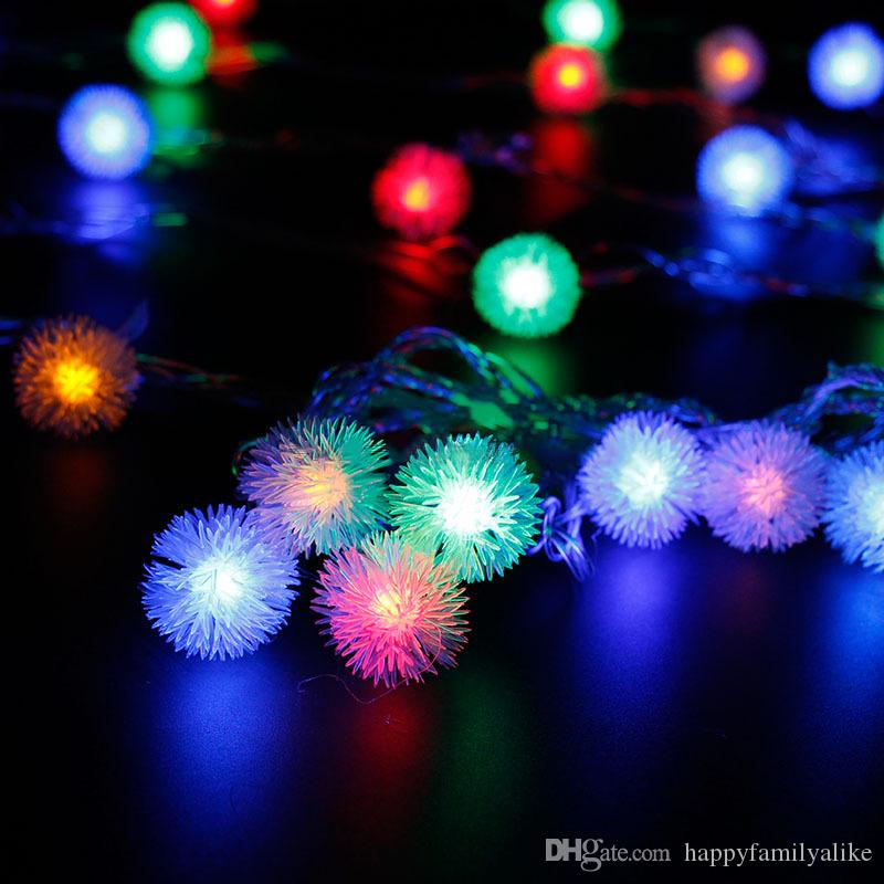 2018 10m 100leds Snow Pompon Led Christmas Lights Fairy