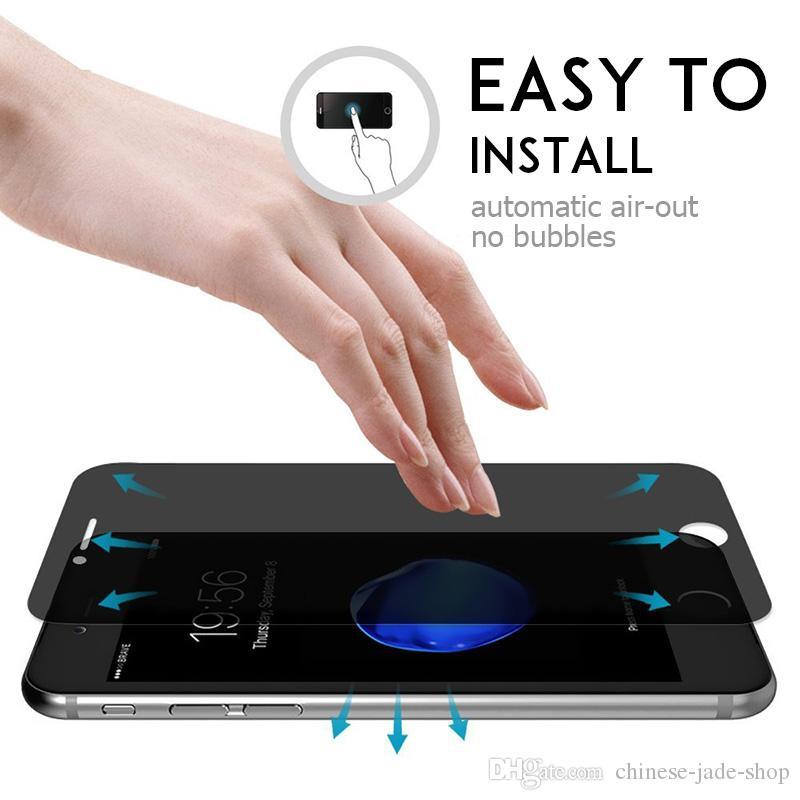 Para iphone XS XR XS MAX 6 7 8 6 plus 7 plus 8P 5 5S SE 9H Vidrio templado de privacidad Protector de pantalla anti espía / Simple opp