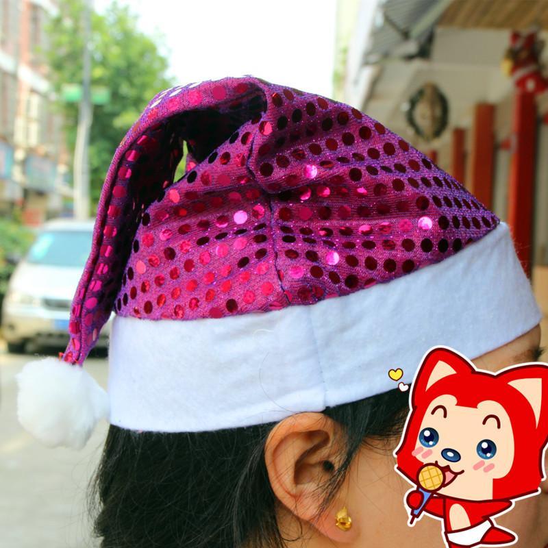 2016 Weihnachtsweihnachtsmann-Hüte Paillette Partei cosplay Hut des neuen Jahres 29 * 35cm Nette Erwachsene Weihnachtskappenverzierung liefert Goldpurpur