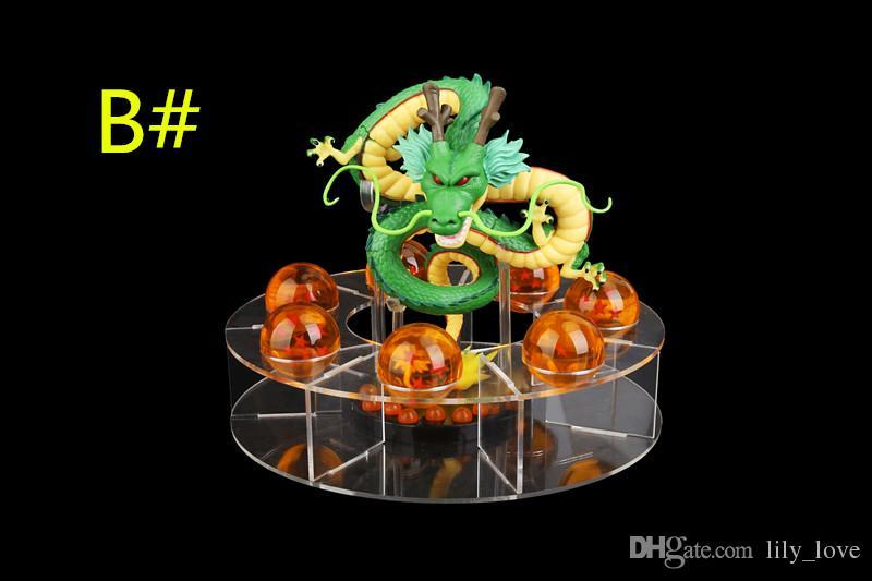 DHL blue orange dragon ball z action figures shenron figure Shenlong pvc dragonball z crystal ball set 4.5cm dragon ball shelf full set