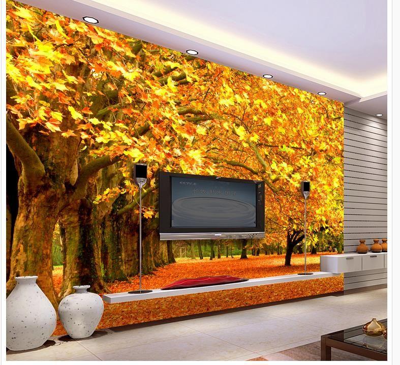 3d Wall Murals Wallpaper Modern Living Room Wallpapers 3d Red Maple