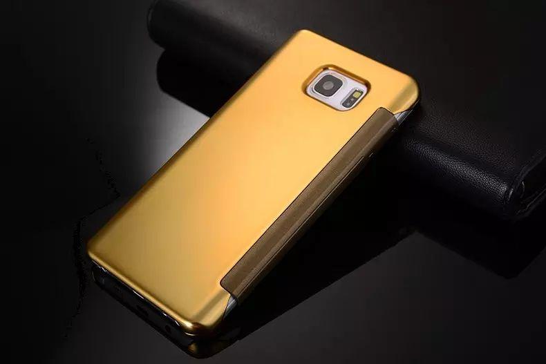 Зеркало Clear View Flip Smart Touch Чехол с гальваническим покрытием Бумажник Кожаный чехол для Samsung Galaxy NOTE 4 NOTE 5 Galaxy A5 A7 A8 50p