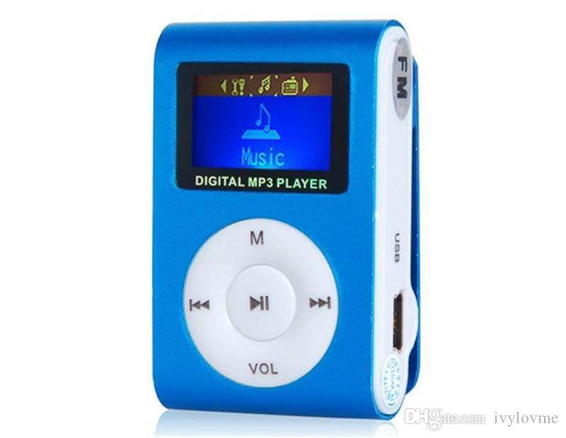 Colorful MINI Clip MP3 Player with 1.2'' Inch LCD Screen Music player Support Micro SD Card TF Slot + Earphone +USB Cable with Gift box