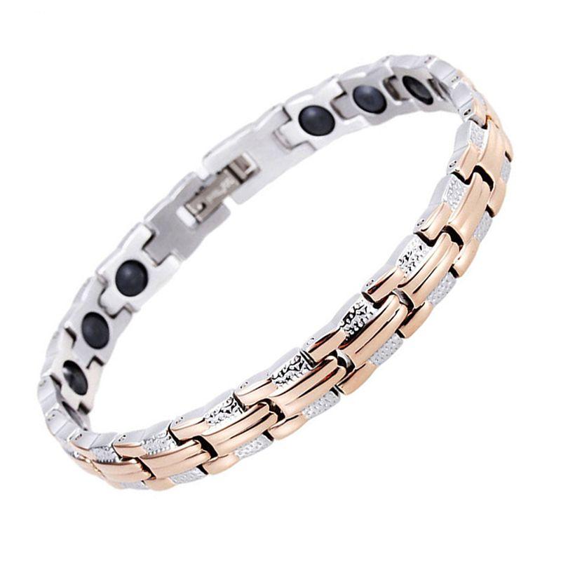 8mm Wide Fashion Rose Gold Women Bracelets Stainless Steel Bracelet&Bangle Health Big Magnetic Germanium Female Jewelry Sand Design