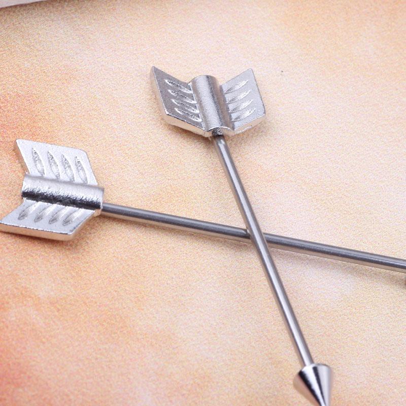 acier inoxydable aile longue barre industrielle Barbell en gros bijoux de corps boucle d'oreille piercing barre pour bijoux de style Punk