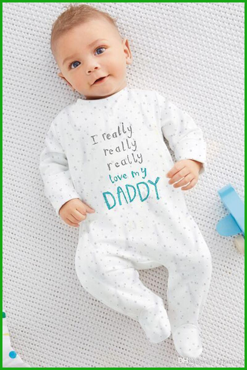 love daddy mom letter printed baby rompers spring autumn star dot geometric white long jumpsuits fashion hot selling