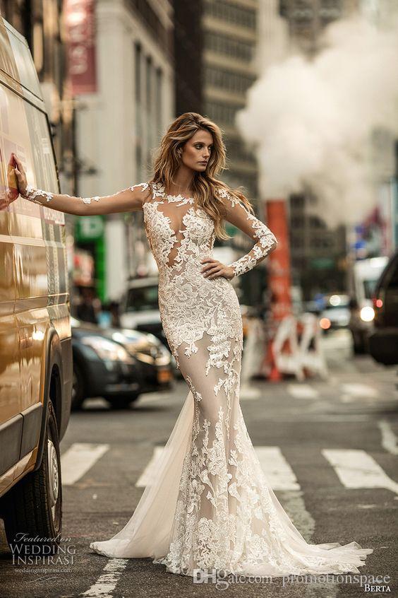 Berta Outono 2017 Sereia Vestidos De Noiva Mangas Compridas Ilusão Jewel Decote Lace Appliqued Elegante Equipado Nupcial Vestidos com Baixo Voltar