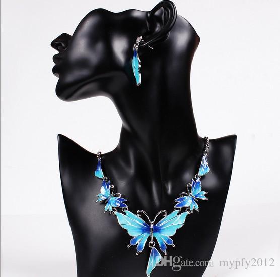 Moda Conjunto de Jóias de Cristal Borboleta Esmalte Jóias Declaração Colar Set Brincos para Conjuntos de Jóias Mulheres QD