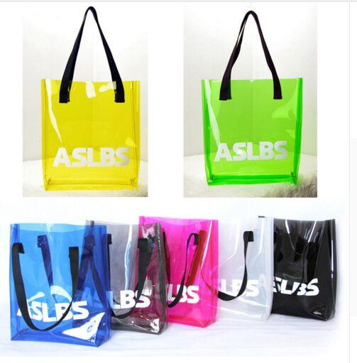 Summer Clear Plastic Waterproof Beach Bags Candy Color Pvc