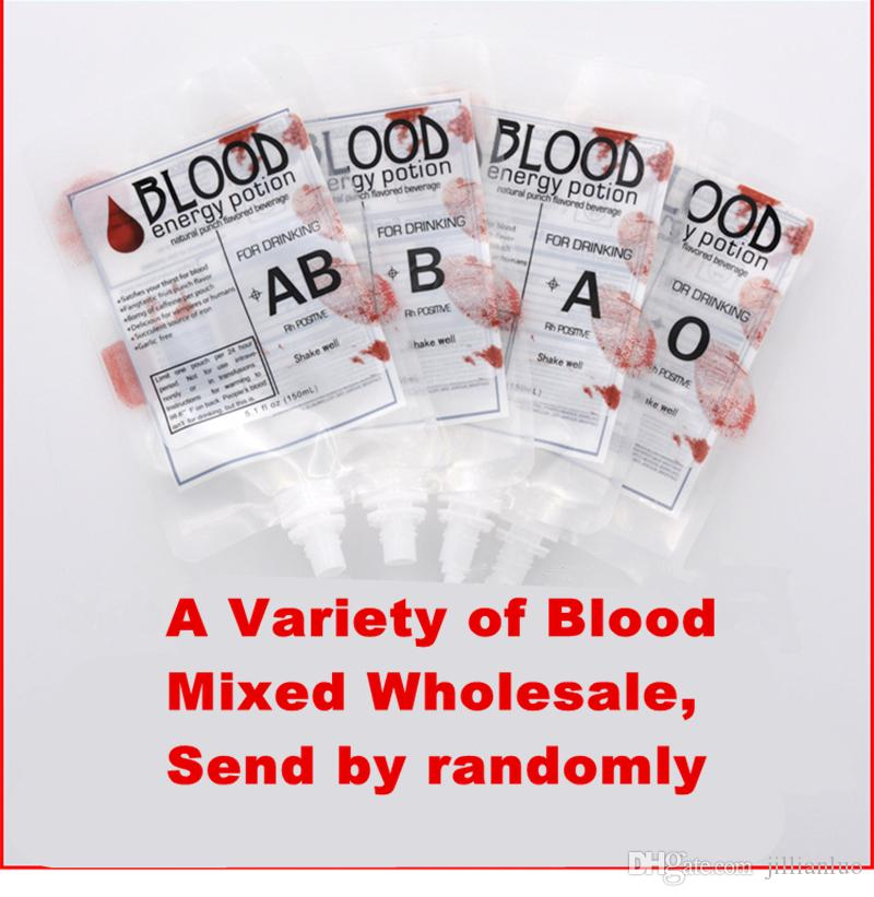 Clear Food Grade PE Material Reusable Blood Energy Drink Bag Halloween Pouch Props Vampire Theme