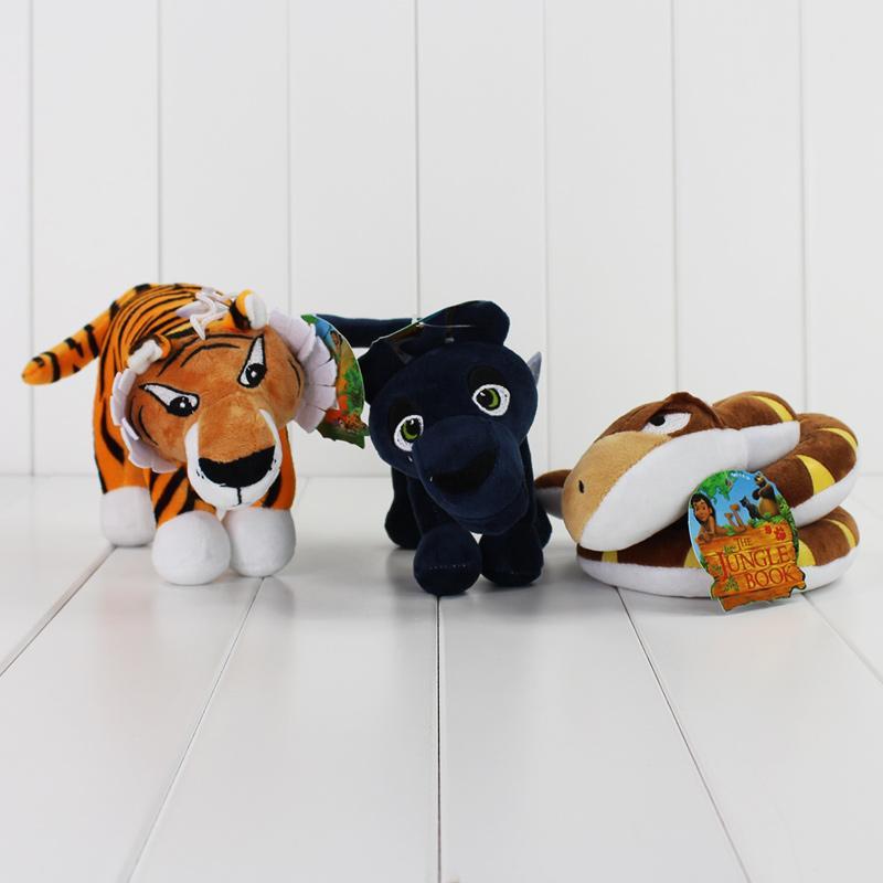 Nova 2016 filme de desenhos animados O Livro da Selva Pelúcia Mowgli Serpente de tigre urso leopardo Bichos de pelúcia Brinquedos Figura 8.5-22cm frete grátis