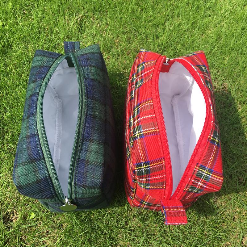 Wholesale Blanks Plaid Cotton Cosmetic Bags Check Design Makeup Bag Cosmetic Case with Zipper Closure DOM103386