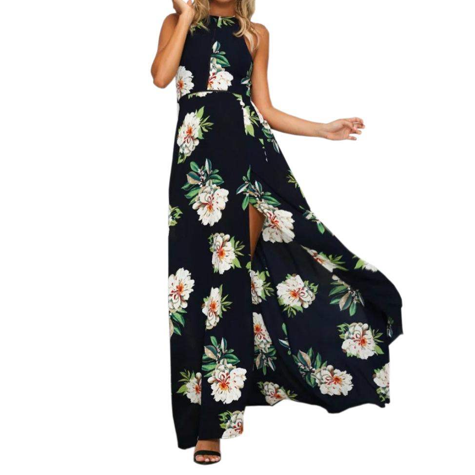 a5e27b85958 X201711 Floral Print Long Dress Boho Halter Women Backless Maxi Dresses  Chiffon Vestidos Sexy Split Beach Summer Sundress De Festa GV685 Cocktail  Dress ...
