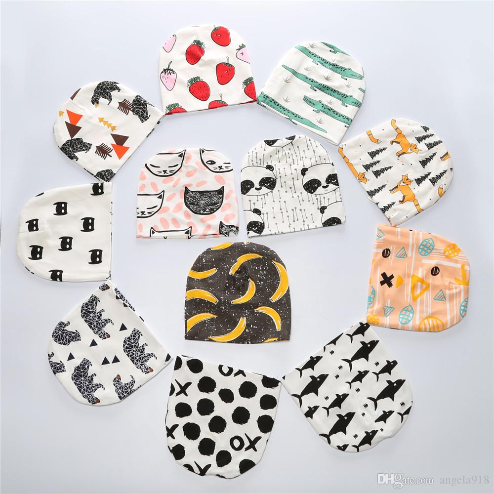 kids INS purified cotton hats children fashion cartoon caps INS fox beanies panda tiger hats printed Baby caps E548