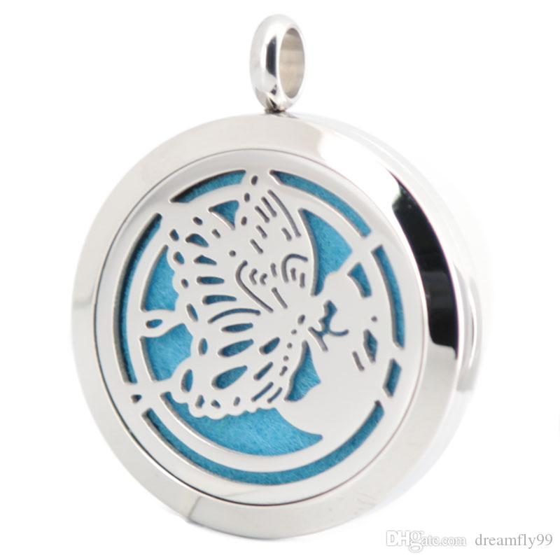 30mm plain Butterfly Aromatherapy Essential Oil surgical Stainless Steel Perfume Diffuser Locket Necklace with 24inch ball chain and pads