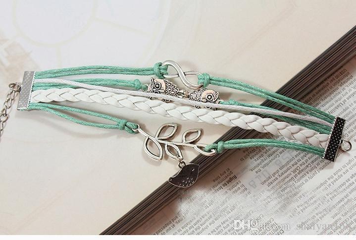 Baykuşlar Şanslı Şube Yaprak Güzel Kuş Charm Bilezik Gümüş Deri Bilezik Gümüş Charm Bilezikler Kadınlar için Vintage Bileklik Takı