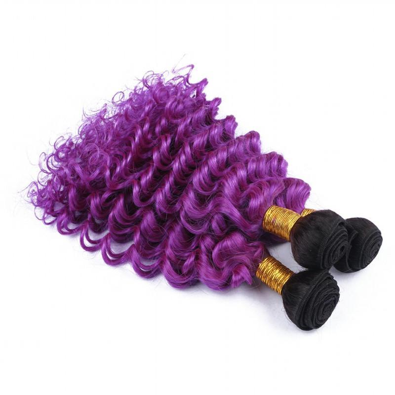 "Malaysian Deep Wave Human Hair Ombre Purple Two Tone Virgin Hair Bundles Dark Root 1B/Purple Ombre Human Hair Weaves Extensions 10-30"""