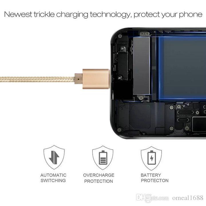Alta velocidade 3 pés 6 pés 10 pés caixa metálica trançada Micro USB Cable Durable Tinning carregamento USB Tipo C Cabo para S7 S8 S9 S10 NOTA 8 NOTA 9 Cable