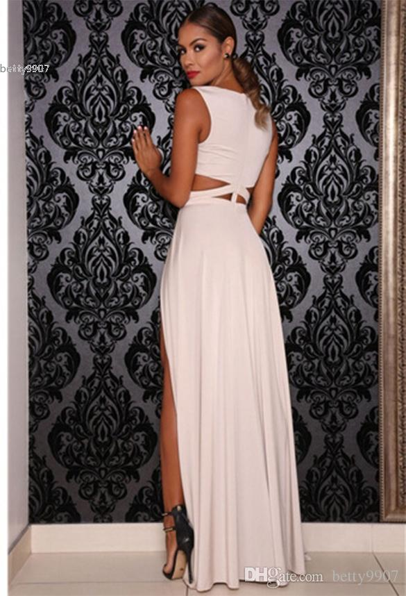 New Designer Sexy maxi dress for womens Hollow Out Sleeveless V-neck High Waist Lady Full Prom runway dresses Party Cocktail Club Wear 3