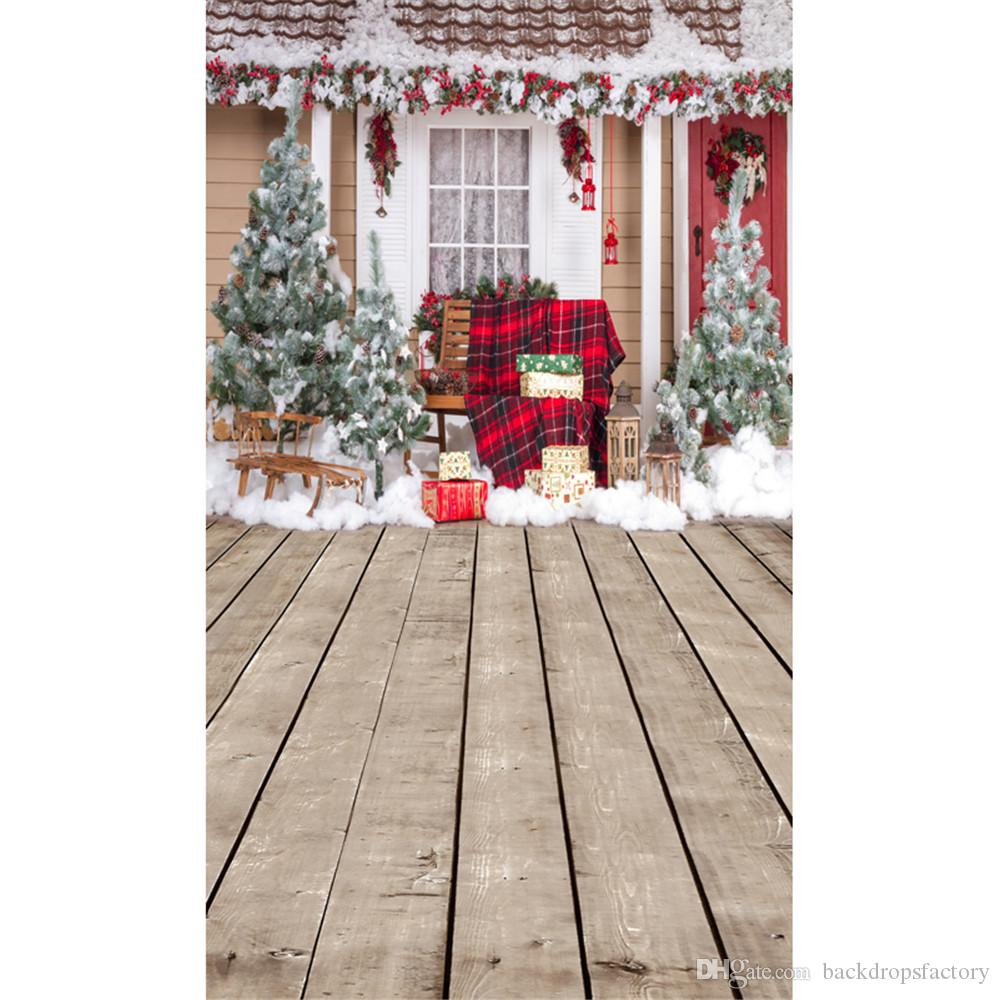 2018 outdoor winter snow scene photography backdrops decorated house christmas trees gift boxes merry xmas studio photo background wood floor from