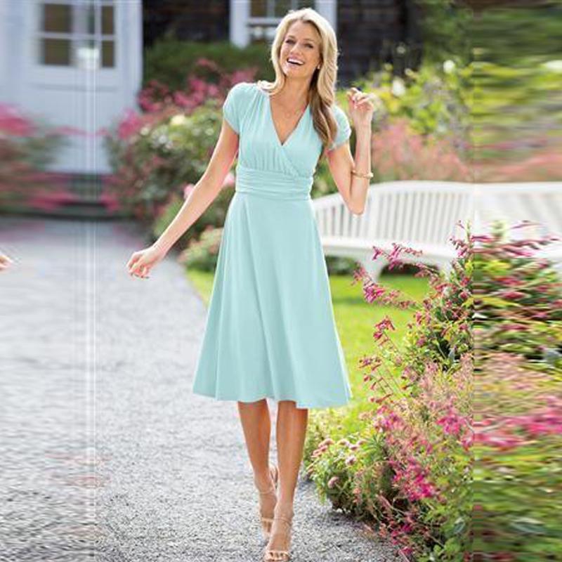 짧은 소매 짧은 겸손한 신부 들러리 드레스 짧은 소매 무릎 길이 민트 그린 시폰 파티 드레스 사용 가능 플러스 사이즈 무료 배송