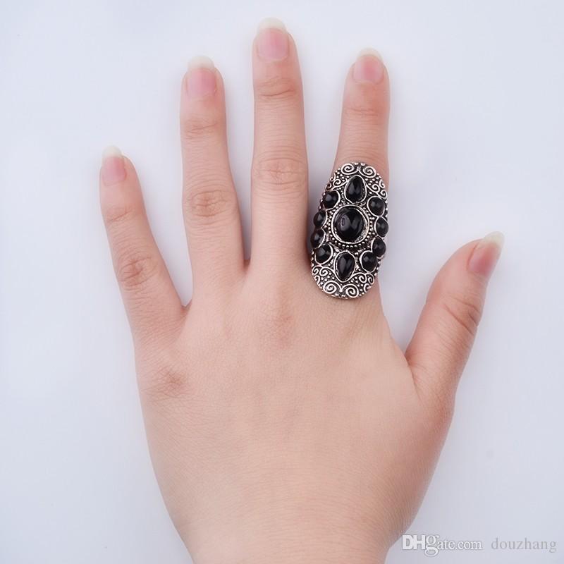 Vintage stijl zilveren bohemien etnische zwarte hars edelsteen ring voor vrouwen vinger knuckle ringen sieraden groothandel 12 stks