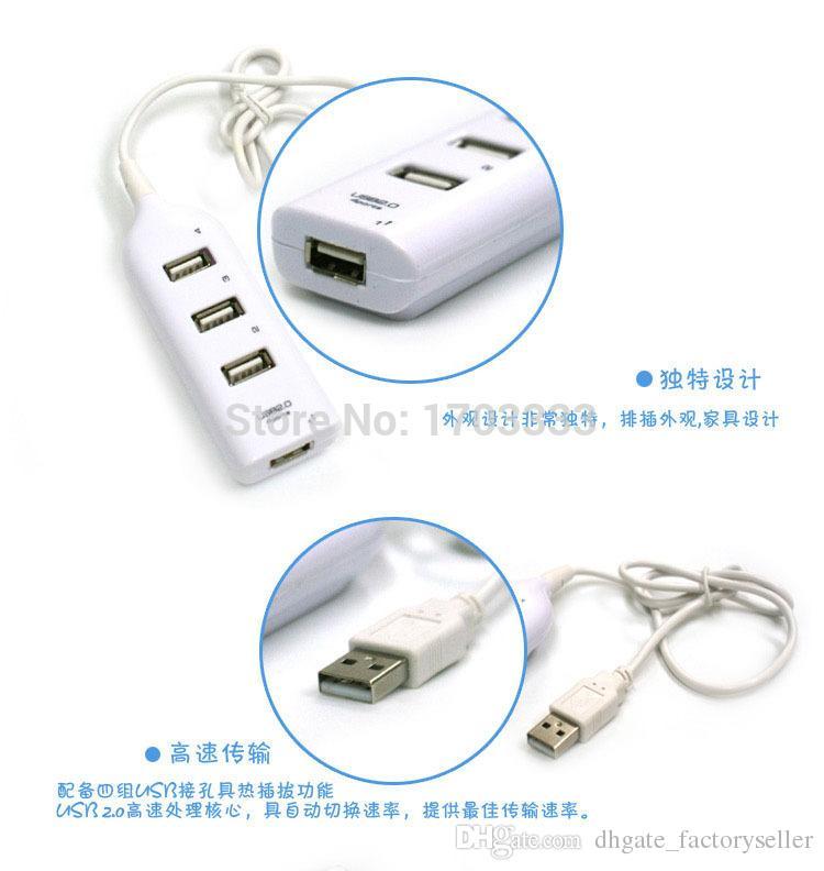 RA 4 Port High Speed Mini USB 2.0 HUB Adapter For Laptop PC 480Mbps Expansion Splitter