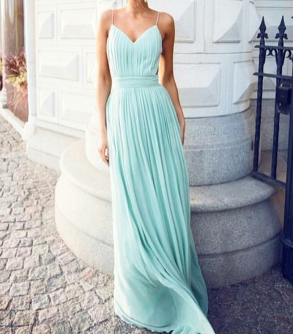 Sexy Elegant Bridesmaid Long Dress Mint Chiffon Spaghetti Straps Backless Criss Cross Ruch Custom Made Wedding Party Maid of Honor Gowns