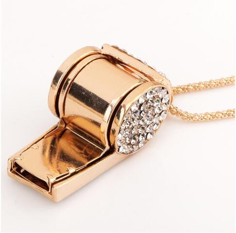 Whistle Crystal Necklaces Full Rhinestone Gold Plated Costume Jewelry Long Sweater Chain Gold Plated Sport Jewelry