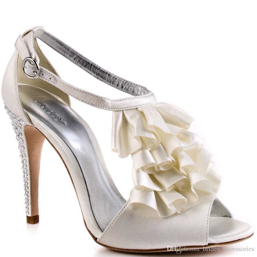 Elegant White Wedding Shoes Ruffled T Strap Open Toe Sandal For Women Thin High Heels Designer 2015 Made To Order Bridal